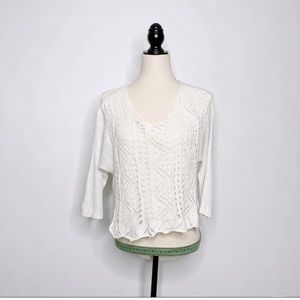 Anthropologie Moth Crochet High Low sweater light